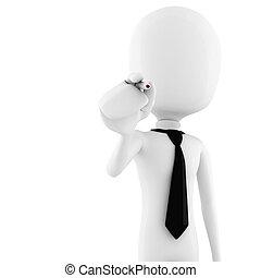 fond, business, -, isolé, stylo, tenue, blanc, homme, 3d