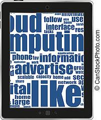 fond, business, pc tablette, mots, blanc