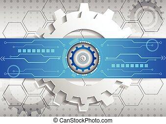 fond, business, résumé, élevé, circuit ordinateur, technologie, futuriste