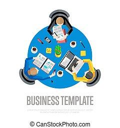 fond, business, sommet, espace de travail, template., vue