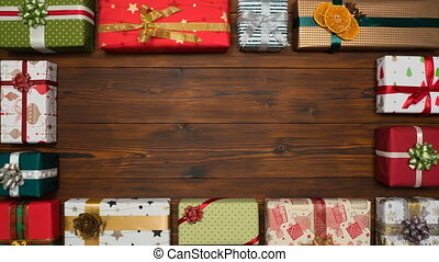 fond, cadeau, cadre, apparaît, bois, mouvement, arrêt, sombre