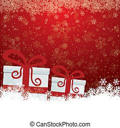 fond, cadeau, neige, étoiles, blanc rouge
