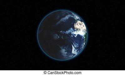 fond, cadre, centré, globe, espace, seamless, tourner, réaliste, noir, étoiles, la terre, rotation, correct, boucle, loop.