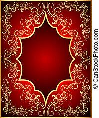fond, cadre, gold(en)(en), rouges, ornement