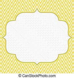 fond, cadre, zigzag jaune, chevron, blanc