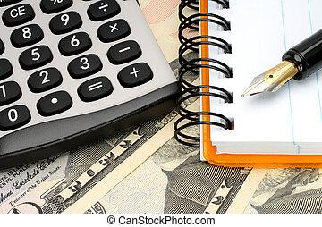 fond, calculatrice, argent, bloc-notes