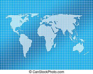 fond, carrés, et, planisphère