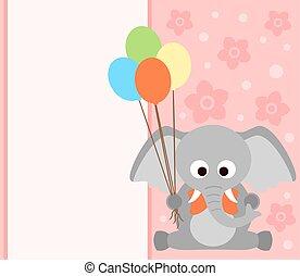 fond, carte, éléphant