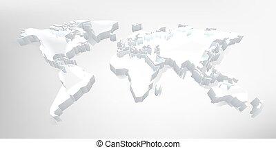fond, carte, 3d, technologie, mondiale, numérique