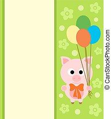 fond, carte, cochon