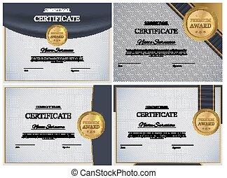 fond, certificat, set., diplôme, collection, vecteur, conception, illustration, gabarit, récompense, blank.