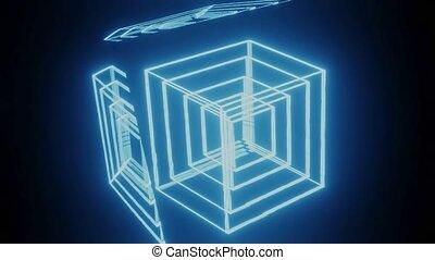fond, cgi, contours, animation, vfx, reflet, niché, mouvement, incandescent, corps, cubes, lumière, film, rouges, 3d, manipulation, bleu, lumière noire, voler