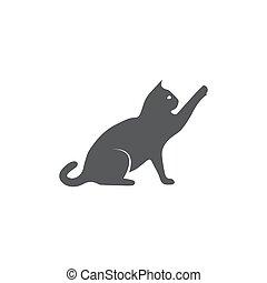fond, chat blanc, icône