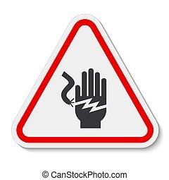 fond, choc, blanc, isoler, symbole, électrocution, signe,...