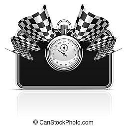 fond, chronomètre, drapeau, checkered
