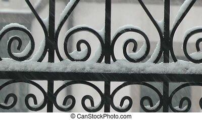 fond, chute neige, fer, forgé