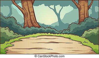 fond, clairière, forêt