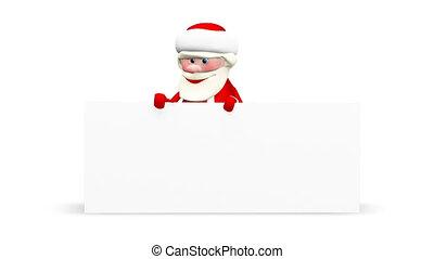 fond, claus, animation, santa, alpha, blanc, canal, 3d