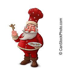 fond, claus, -, patisserie, santa, cuisinier, blanc