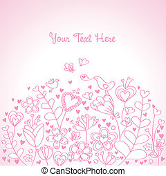 fond, coeur, rose, floral
