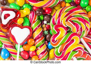 fond, coloré, bonbons