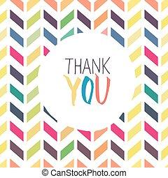 fond, coloré, chevron, vous, carte, remercier