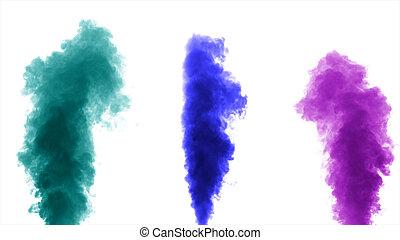 fond, coloré, isolé, fumée, épais, blanc