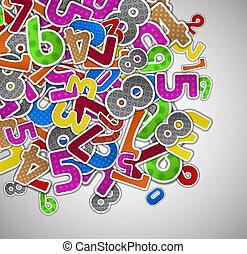 fond, coloré, nombres