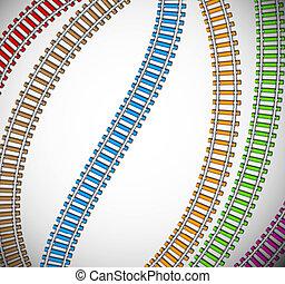 fond, coloré, rails