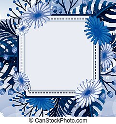fond, conception, fleurs, bleu