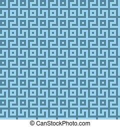 fond, conception géométrique, pattern., seamless, labyrinthe, bleu, résumé