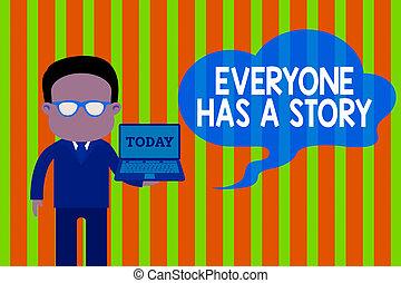 fond, contes, mémoires, lunettes, debout, tenue, ton, écriture, story., portable ouvert, signification, art., a, texte, everyone, photo, dire, complet, porter, homme, art conter, concept