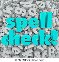 fond, contrôle charme, mots, lettre, orthographe, correct