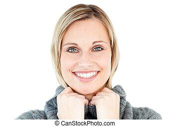 fond, contre, chandail, regarder, sourire, appareil photo, blanc, femme, polo-cou, porter