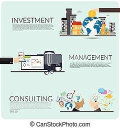 fond, copie, text., concept., isolé, gestion, plat, bleu, investissement, illustrateur, conception, espace, business, ensemble, consultant, ton, vecteur