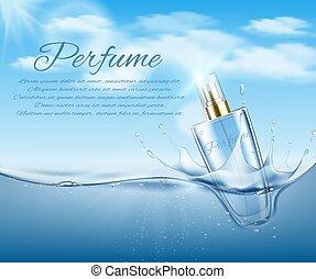 fond, cosmétique, illustration, air, eau, bubbles., vecteur, bouteille