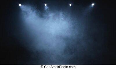 fond, couler, lumières, lentement, fumée, noir