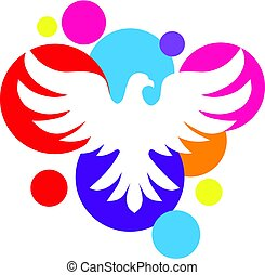 fond couleur, logo, colombe blanc, cercle