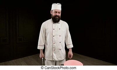 fond, coup, but, tient, couteau, sur, homme, cuisinier, noir...
