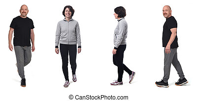 fond, couple, profil, vêtements de sport, devant, witn, marche, blanc
