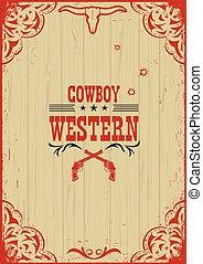 fond, cow-boy, affiche, fusils, occidental