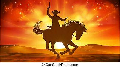 fond, cow-boy, cheval, silhouette, coucher soleil, équitation