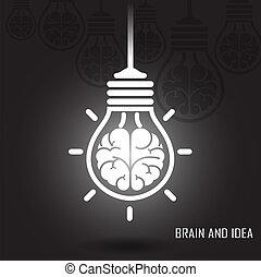fond, créatif, cerveau, sombre, idée, concept