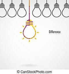 fond, créatif, différence, ampoule, lumière, idée, concept