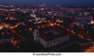 fond, crépuscule, bâtiment, renaissance, aérien, château, ...