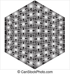 fond, cube, illustration, puzzle, puzzle, vecteur