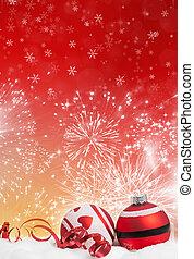 fond, décorations noël, rouges