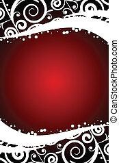 fond, décorations, rouges