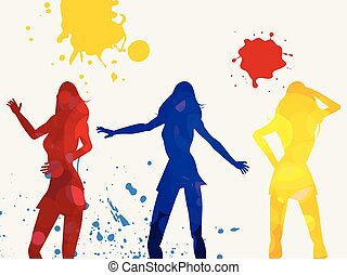 fond, danse, coloré, silhouettes, femme, blanc