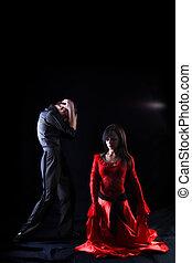 fond, danseurs, -, contre, noir, séparation